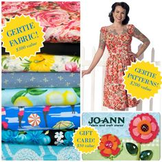 New contest for you to enter! It's the Gertie Pinterest contest, and just for creating a lovely pinboard you could win $300 worth of Gertie fabric, $200 worth of Gertie patterns, and a $50 gift cer...
