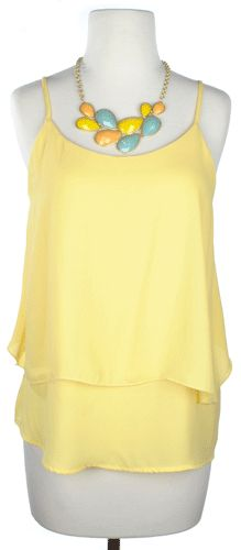soft yellow with bold necklace