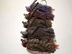 www.jigs4bass.com  Poison tail tournament line.. wire tied and rattles too for $3.49 each. See the rest of my baits at www.jigs4bass.com