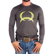 Men's Cinch Logo Gray Long Sleeve Athletic Shirt