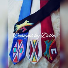 Men's neck ties ~ made by Designs by Della (Crow Nation) Native American Models, Native American Baby, Native American Regalia, Native American Design, Native Design, Native American Beadwork, Native American Fashion, Baby Tie, Ribbon Shirt