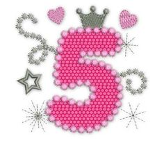 Happy Bithday Number 5 Pink Glamour for Girl Applique Embroidery Design