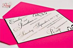 Pretty in Pink Pochette - Wedding Invitation  via Etsy. But in Eggplant or Purple