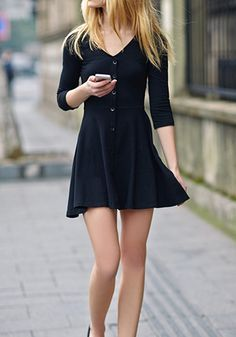 Black Plain A-line Draped 3/4 Sleeve Single Breasted V-neck Mini Dress