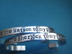 "You're the Sherlock To My Watson"" "" You're the Watson to My Sherlock"" Sherlock Holmes inspired item B83. $24.50, via Etsy."
