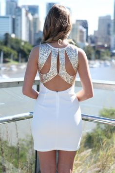 Gina: White Sleeveless Dress with Gold Sequin Cutout Back Homecoming, cocktail, prom dresses Hoco Dresses, Party Dresses For Women, Unique Dresses, Trendy Dresses, Homecoming Dresses, Casual Dresses, White Sequin Dress, White Sleeveless Dress, Sexy Party Dress
