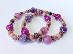 Pink and Purple Bracelet with Rhodonite, Quartzite and Amethyst Beads // Stackable Stretch Bracelet on Etsy, $14.99