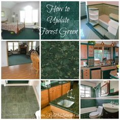 ideas for how to update forest green carpet, countertops, tile bathroom fixtures, tub and more using the best paint colours