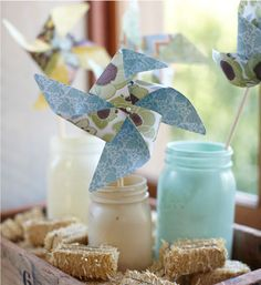 Easy to make colorful pinwheels can be used as decorations, toys and party favors.