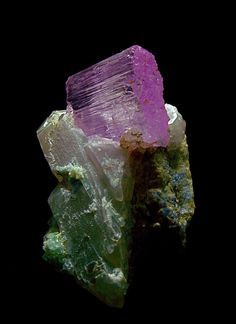 "Kunzite crystal on Quartz and Fluorite matrix, Pakistan, crystal 2"", a very gemmy crystal."
