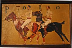 Not a poster! This is a mural at Adams House, Harvard University, Cambridge, Massachusetts painted by Edward Penfield, known for his Vanity Fair covers. He painted a series of murals around the breakfast room, known as the Coolidge Room, in Randolph Hall. They depict life at Harvard in the 1890s. This particular one is polo at the Myopia Club in nearby Hamilton, Massachusetts.