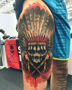 80 Indian Skull Tattoo Designs For Men – Cool Ink Ideas Awesome Indian Skull Mens Half Sleeve Tattoo Ideas With Native American Design Tattoo Life, Form Tattoo, Ink Tattoo, Tattoo Bein, Shape Tattoo, Body Art Tattoos, Tattoo Thigh, Indian Chief Tattoo, Indian Skull Tattoos