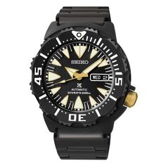 New Seiko SRP583 Prospex X Monster Black IP Stainless Steel Mens Automatic Watch