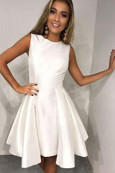 A-Line Round Neck Pleated White Satin Homecoming Party Dress ,short homecoming dress Dresses Short, A Line Prom Dresses, Sexy Dresses, Party Dresses, Dress Prom, Pleated Dresses, Dresses 2013, Cheap Dresses, Occasion Dresses