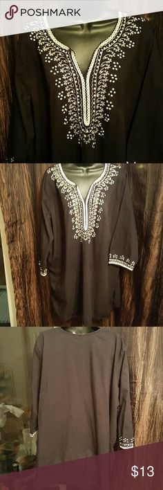 "Tunic Pretty black & White Thread trim.  Length 34"" Arm measures 18"" Bust measures up too 44"" Tops Tunics"