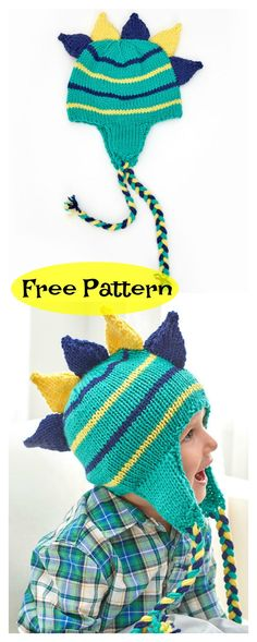 This Dinosaur Hat Free Knitting Pattern is a great hat to stay warm in cold winter days! You can look like a dinosaur with this cute free pattern provided by the link below. Knitted Hats Kids, Baby Hats Knitting, Knitting For Kids, Free Knitting, Crochet Baby Jacket, Crochet Baby Clothes, Crochet Baby Hats, Crochet Dinosaur Hat, Knitting Patterns Boys