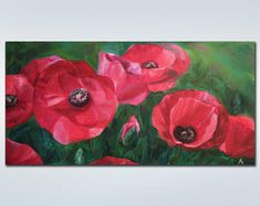 Abstract painting, landscape painting by KarinaMirzoevaArt Large Canvas Art, Abstract Canvas Art, Large Painting, Oil Painting Abstract, Canvas Wall Art, Poppies Painting, Colorful Paintings, Beautiful Paintings, Acrylic Painting Lessons