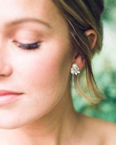 Starlight Pearl & Crystal Earrings Studs Wedding Earrings
