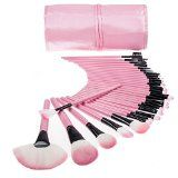 Professional Makeup Brush Set| Pro Cosmetic-32pc Studio Pro Makeup Make Up Cosmetic Brush Set Kit w/ Leather Case - For Eye Shadow, Blush, Concealer, Etc. (Pink)