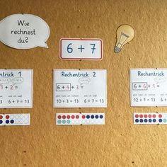 #wandtafelbild An unserer Mathewand sind momentan unsere Rechentricks zum ZÜ. Darunter kommen morgen unsere Tricks zum minus rechnen. Leider haben wir keine Tafel, sondern nur zwei riesige Pinnwände. Eine Qual, wenn das Wandbild gewechselt werden muss! #lehrerinneninstachallenge @a_teachers_lifestyle #mathematik #rechentricks #zahlenübergang