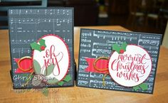 "These are the greetings from ""Watercolor Christmas"", the stamp set that coordinates with our Christmas card kit by the same name.  The bold pretty script on these large greetings steals the show on my simple cards.  The black and white designer paper is from the Merry Music specialty collection; the red strip is from the Quilted Christmas collection. I think my black and white cards are easy to make in great quantity, so they are great for Christmas.  If you want something even quic..."