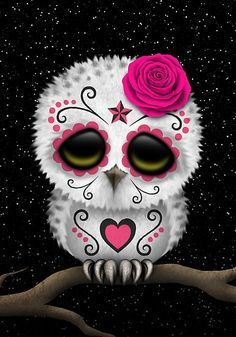 Cute Pink Day of the Dead Sugar Skull Owl by Jeff Bartels. LOVE this!