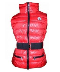 Moncler Classic Down Vest Sleeveless Women Zip Red! Only $259.9USD