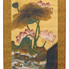 Leaf Wall Hanging Scroll Folk Painting: Lotus Flower in a Pond