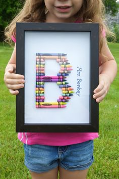 End of year Preschool Teacher gift idea Both my girls did this with a little poem. Easy & they loved helping.
