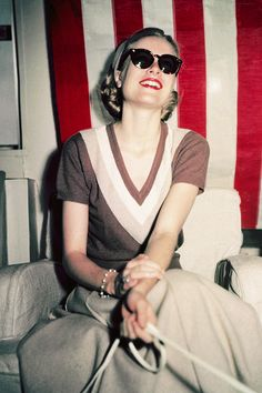 Grace Kelly aboard the SS Consitution, 1956.
