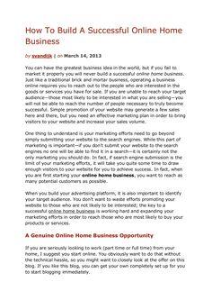 how-to-build-a-successful-online-home-business by Sander van Dijk via Slideshare
