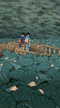 Kawase Hasui Shiba benzaiten ike - paint and art Japanese Art Prints, Japanese Art Modern, Japanese Artwork, Japanese Painting, Japanese Poster, Chinese Painting, Chinese Art, Art And Illustration, Japanese Illustration