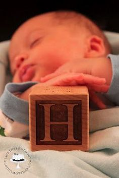 Shipp infant/baby photography - use wooden block of first or last name. have Shipp make this for you :) Baby Poses, Newborn Poses, Newborn Shoot, Newborn Baby Photography, Children Photography, Newborns, Photography Ideas, Baby Boy Photos, Newborn Pictures