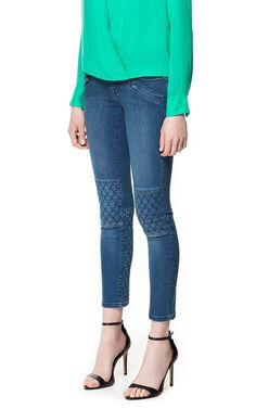 BIKER JEANS WITH QUILTED DETAIL from Zara