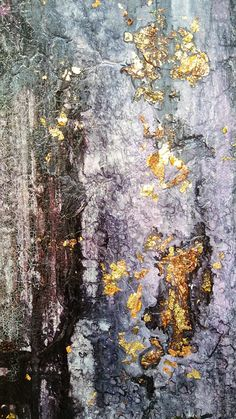 Purple Gold Leaf Abstract Painting 24 x 24 Original Texture
