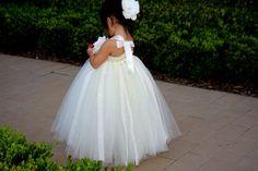#GB Ivory n Lace Flower Girls Tutu Dress by PoshBabyStore.com