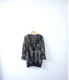 Vintage 80's black and white oversized cardigan by manorborn
