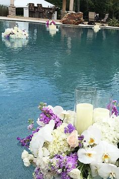 Pool Decor Ideas For Your Backyard Wedding ★ wedding pool party decoration candles with flowers in pool bella bloom florals Pool Wedding Decorations, Wedding Themes, Wedding Colors, Wedding Ideas, Wedding Planning, Wedding Attire, Wedding Dresses, Wedding Stuff, Ideas Bautizo