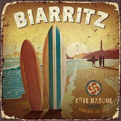 19 art deco de bruno pozzo - Page 5 Vintage Tin Signs, Vintage Labels, Vintage Ads, Beach Honeymoon Destinations, Foto Transfer, Biarritz, Decoupage Vintage, Surf Art, Vintage Travel Posters