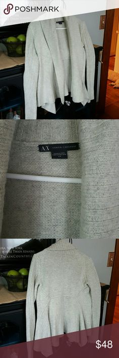 AX Armani Exchange Cardigan Like New cardigan sweater. Different shades of grey through out this sweater. Wore one time. Very pretty cardigan to wear on those cool evenings, sipping on a glass of Mascato and enjoying an outdoor fire with friends. Armani Exchange Sweaters Cardigans
