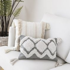 The beauty of this tufted tassel Moroccan inspired is enchanting and eye-catching. Moroccan Home Decor, Moroccan Furniture, Moroccan Design, Moroccan Style, Moroccan Bedroom, Linen Pillows, Throw Pillows, Moroccan Cushions, Knitted Pouf