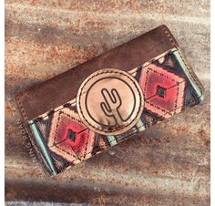 TEMPORARILY OUT OF STOCK! Red Aztec Tri-Fold Ladies Wallet with Cactus Leather Patch by Running Roan Tack