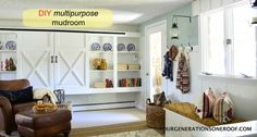 Create a mudroom area on an open wall with diy shelving, planks & diy shoe storage area for under $30 via Jessica @fourgenerationsoneroof.com