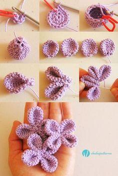 4 petal flower, free pattern, photo tutorial, written instructions/ Flor de 4 pétalos, patrón gratis, foto tutorial, instrucciones escritas
