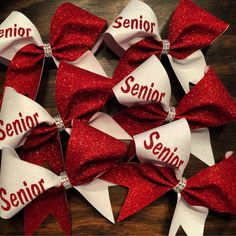 Glitter senior  cheer bow . Price is for one cheer bow. You can choose any color combination.  by bragaboutitcheerbows. Explore more products on http://bragaboutitcheerbows.etsy.com