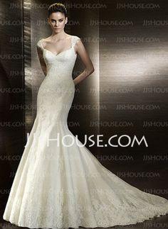 Sjöjungfru V-ringning Court-släp Satin  Tyll Bröllopsklänningar med Spetsar  Pärlbrodering (002000630)
