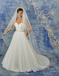 SYMPHONY BRIDAL TWO LAYER BEADED EMBROIDERY CATHEDRAL WEDDING VEIL 6938VL $439.98