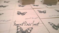 Partecipazione invito con pizzo e farfalla grigio melange - lace and butterfly wedding invitation Place Cards, Place Card Holders