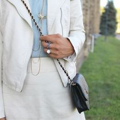 Dreamy creamy silk skirt + dusky blue aquamarine blouse  #Streetstyle #SummerFashion