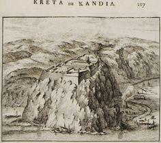 1688 Άποψη του φρουρίου του Παλαιοκάστρου δυτικά του Ηρακλείου. - DAPPER, Olfert - ME TO BΛΕΜΜΑ ΤΩΝ ΠΕΡΙΗΓΗΤΩΝ - Τόποι - Μνημεία - Άνθρωποι - Νοτιοανατολική Ευρώπη - Ανατολική Μεσόγειος - Ελλάδα - Μικρά Ασία - Νότιος Ιταλία, 15ος - 20ός αιώνας Old Maps, Local History, Travelogue, The Locals, Vintage Photos, The Past, Island, Painting, Venice